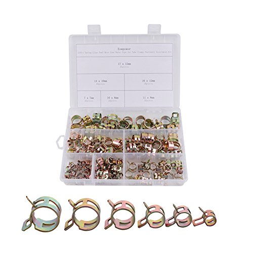 Line Hose Clamp (Eowpower 120Pcs Spring Clips Fuel Hose Line Water Pipe Air Tube Clamps Fasteners Assortment Kit)