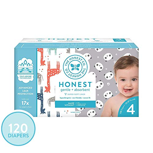 The Honest Company Super Club Box Diapers - Newborn Diapers, Size 4 - Pandas & Safari Print | TrueAbsorb Technology | Plant-Derived Materials | Hypoallergenic | 120 Count
