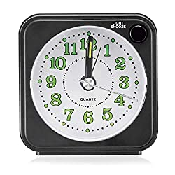PGI Traders Classic Mini-Time Alarm Clock - Battery Operated, Back Light Snooze Function and Silent No Ticking