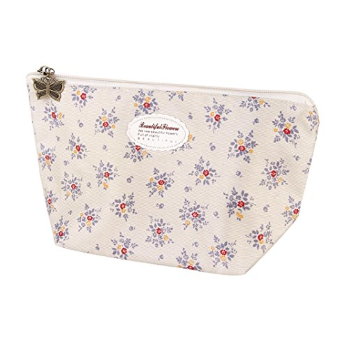 Cosmetic Bag, Dingji Portable Travel Cosmetic Bag Makeup Pouch Toiletry Wash Organizer (Beige)