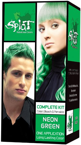 Hair Green Dye Bright - Splat Kit Neon Green, Vert, 3 Ounce with Splat Oxide Mixing Container