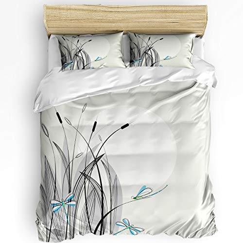 Bilagawa Full Size 3 Pcs Duvet Cover Sets Bedding Sets for Woman Man,Beautiful Dragonfly Pattern Bedding Collections,Comforter Cover Sets Include 1 Duvet Cover with 2 Pillow Cases ()
