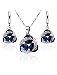 18 ct White Gold Plated Blue Simulated Sapphire Zirconia Austrian Crystals Set Necklace Pierced Earrings