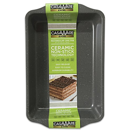 Casaware Excel 9 X 13 X 2 Inch Rectangular Cake Pan Ceramic Coated Nonstick  Silver Granite
