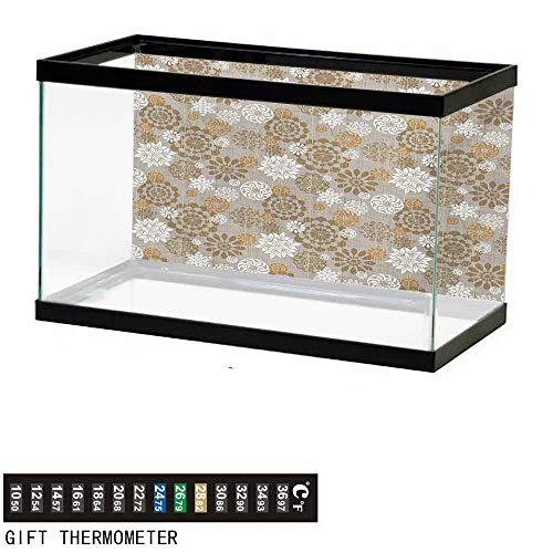 - wwwhsl Aquarium Background,Floral,Ornamental Flower Design Combinations Styles Diagonal Pattern,Sepia Amber Grey Fish Tank Backdrop 48