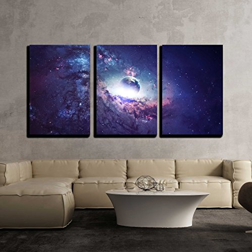 Universe Scene with Planets Stars and Galaxies in Outer Space x3 Panels