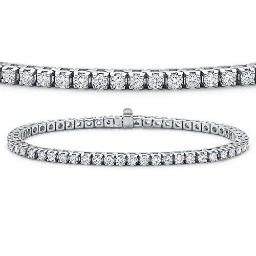 5 Ct Round Diamond (IGI CERTIFIED 5 Carat (ctw) 14K White Gold Round Cut White Diamond Ladies Tennis Bracelet)