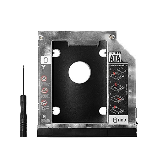 QNINE 2nd HDD SSD Hard Drive Caddy Tray Replacement for Dell Latitude E6430 E6530 E6420 E6520 E6320 E6330, 2.5 Inch Internal Laptop CD/DVD-ROM Optical Modular Bay Adapter 9.5MM Dell Internal Hard Drive