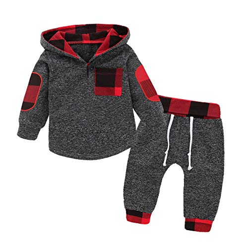 Toddler Baby Boy Girl Clothes Plaid Pocket Hoodie Sweatshirt Jackets Shirt +Pants Outfits Set(GreyRed/70)