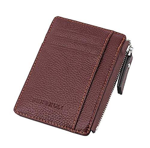 DEXBXULI PU Leather Card Case Holder Thin Wallet Money Clip Pocket Zipper Bilateral Symmetry