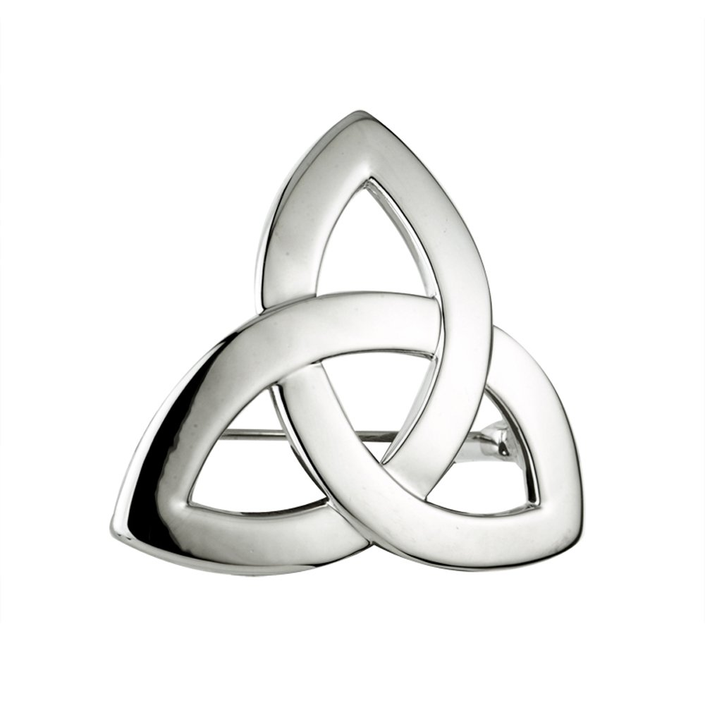 Rhodium Irish Trinity Knot Ladies Brooch by Solvar