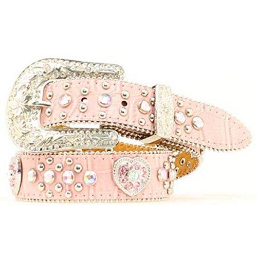 [Nocona Girls' Heart Concho Belt Pink 26] (Pink Rhinestone Concho)