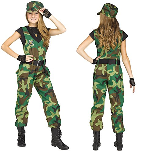 Child size Camo Cutie Costume - Female Military - XL 14-16 (Camo Cutie Costumes)