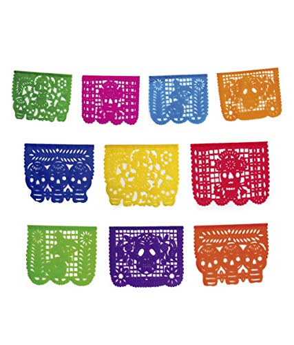 2 Pack. Mictlan Skelletons Dia de los Muertos Mexican Papel Picado Tissue Paper Banner. Colorful Day of the Dead Decorations Large Size -