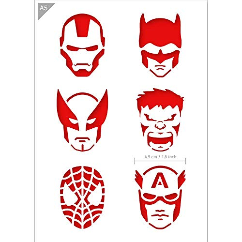 QBIX Superhero Stencil - Ironman, Batman, Wolverine, The Hulk, Spiderman, Captain America Stencil - A5 Size - Reusable Kids Friendly DIY Stencil for Painting, Crafts, Wall, Furniture -