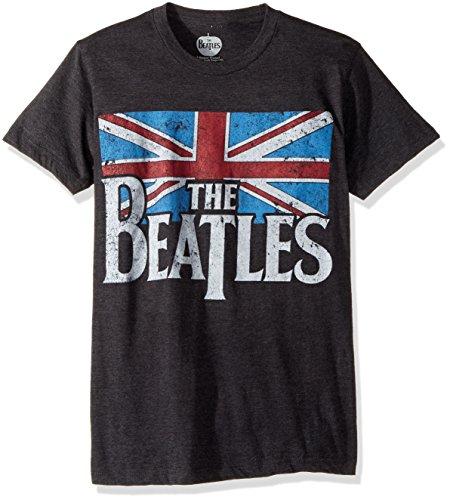 Bravado Men's Beatles Distressed British Flag T-shirt, Grey, Black, Medium