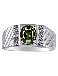 Green Sapphire & Diamond Ring Sterling Silver or Yellow Gold Plated Silver Band