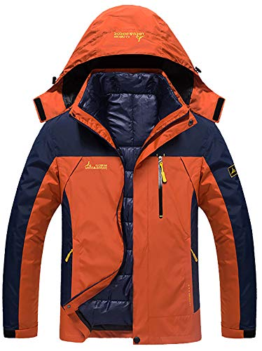 GEMYSE Men's Double Layer Jacket Waterproof Puff Liner Winter Cotton Coat(Lily Orange Yellow,S)