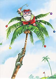 Amazoncom Santa And Aligator Golf Them Christmas Card Cards - Golf christmas cards