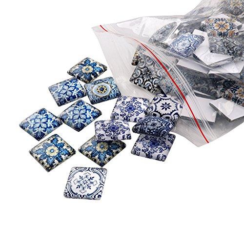 (Yarssir70PCS 20mm Mixed Pattern Flat Back Handmade Photo Glass Cabochon - Chinese Style Blue and White Porcelain for Jewelry Making Craft Decoration)