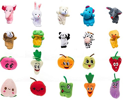 stbeyond 20pcs Soft Plush Finger Puppets Set - 10 Animals + 10 Fruits Vegetables Velvet Dolls Props Toys Children, Story Time, Shows, Playtime, Schools by stbeyond