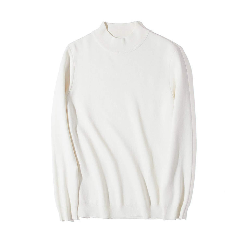 2018 Mock-Neck Sweater Men Cotton Knitted Turtleneck Men Pullover Autumn Winter