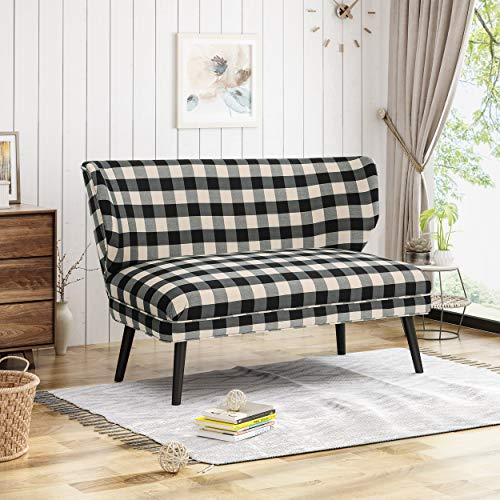 Christopher Knight Home 305731 Dumont Modern Farmhouse Fabric Settee, Black Checkerboard,