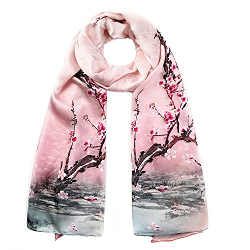 (STORY OF SHANGHAI Womens 100% Mulberry Silk Head Scarf For Hair Ladies Floral Satin Scarf Gift for Valentine's Day,Pink4,One Size)