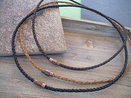 Handmade Braided Leather Necklace With Copper Toned Brass Magnetic Clasp Black Natural Antique Brown