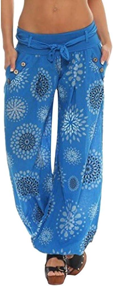 CCataym Pants Wide Leg for Women, Plus Size Trousers Harem Pocket Print Loose Fashion
