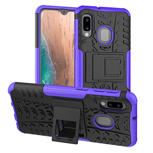 PUSHIMEI Samsung A10e Case, Galaxy A10e Case, with Kickstand Hard PC Back Cover Soft TPU Dual Layer Protection Phone Stand Case Cover for Samsung Galaxy A10e (Purple Kickstand case) (Tactile Telephone Samsung)