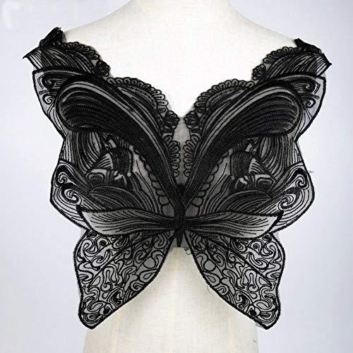 Black Butterfly Lace Collar Embroidered Neckline Trim Applique Embellishments Vintage Trims Wedding Dress ()