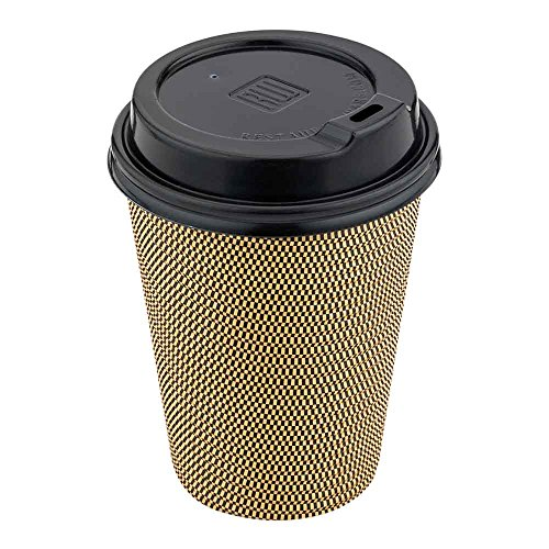 500-CT Disposable Black Lid for Coffee and Tea Cups - Fits 8-OZ, 12-OZ and 16-OZ Cups: Perfect for Coffee Shops, Juice Shops, and Restaurant Takeout - Recyclable Polystyrene Cup Lid - Restaurantware