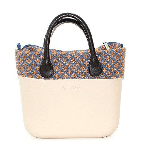 OBAG Borsa o bag mini sabbia chiaro con bordo e sacca denim e manico corto marrone (K)