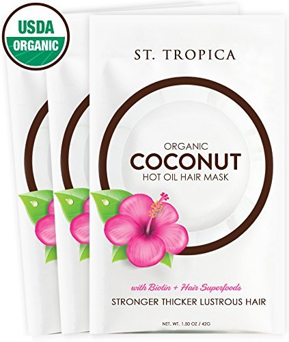 ST. TROPICA Coconut Oil Hair Mask Treatment for Dry or Damaged Hair - Split Ends & Frizzy Hair Repair, Deep Conditions and Promotes Hair Growth - VEGAN - (1.5oz) 3-Pack