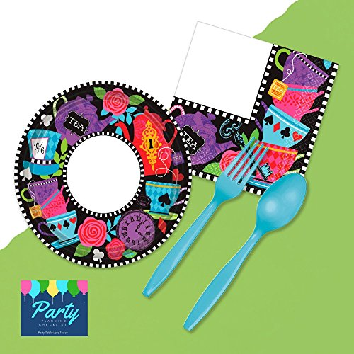 Mad Hatter Unbirthday Tea Party Supplies - Deluxe Tableware Set for 16 Guests - Plates, Napkins, Cutlery, Tablecover