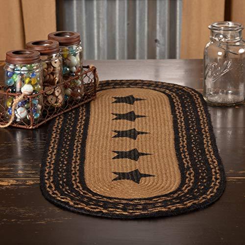 VHC Brands Classic Country Primitive Tabletop & Kitchen - Farmhouse Jute Black Stencil Stars Runner, 13