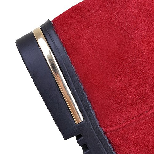 AllhqFashion Mujeres Sólido Gamuza(Imitado) Tacón Medio Sin cordones Puntera Redonda Botas Rojo