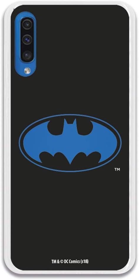 Funda para Samsung Galaxy A50 Oficial de DC Comics Batman Logo Transparente para Proteger tu móvil. Carcasa para Samsung de Silicona Flexible con Licencia Oficial de DC Comics.
