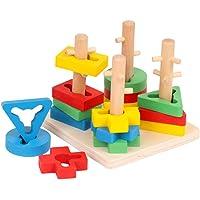 TOYANDONA Wooden Geometric Stacker Blocks Stacking Tower Shape Sorting Board Early Childhood Development Toys for Kids…
