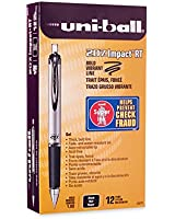 uni-ball Impact RT Retractable Bold Point Gel Pens, 12 Black Ink Pens (65870)