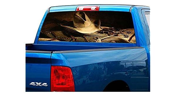 P50 Cowboy Praying Rear Window Tint Graphic Decal Wrap Back Pickup Graphics