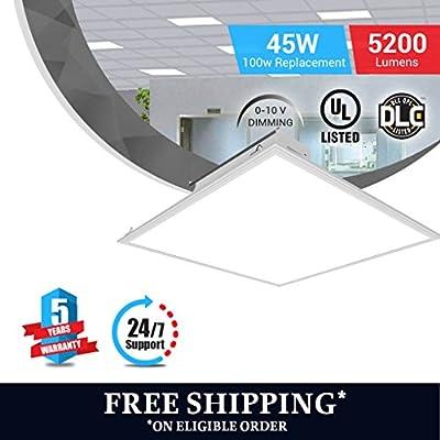 LED Troffer , Panel Light , 2x2 , 45W (100W Equivalent), 2-PACK,5000K, 5200 Lumens, Dimmable 0-10v, 100-277v, White Fram