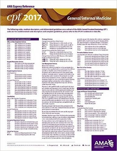 CPT 2017 Express Reference Coding Card: General / Internal Medicine (CPT 2017 Express Reference Coding Cards)