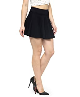 N-Gal Women's Cotton Lycra High Waist Flared Knit Skater Short Mini Skirt -Black_Small