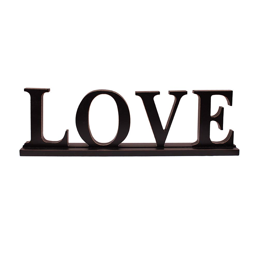 Love Sign for Home Decor, Wooden Love Block Letters Rustic Tabletop Words Decor (Love)