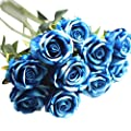 Clearance! Paymenow 5 Pieces Artificial Fake Roses Flannel Flower Bridal Bouquet Wedding Party Home Festival Hotel Decor