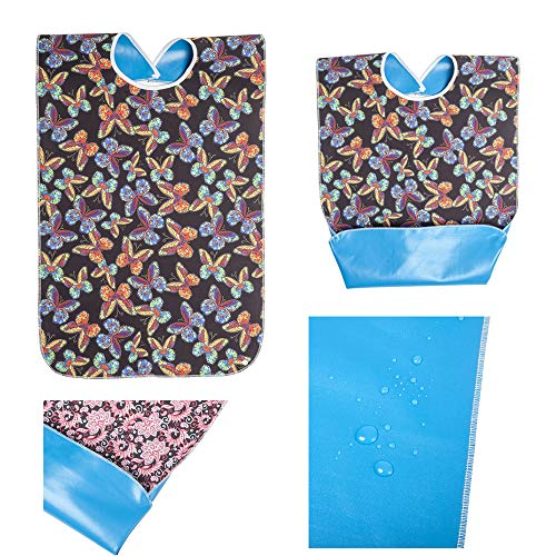 Sainfee Adult Bib Washable Reusable Waterproof Clothing Protector with Optional Crumb Catcher and Vinyl Backing (3 Pack Butterfly/Red Rose/Pink Flower)
