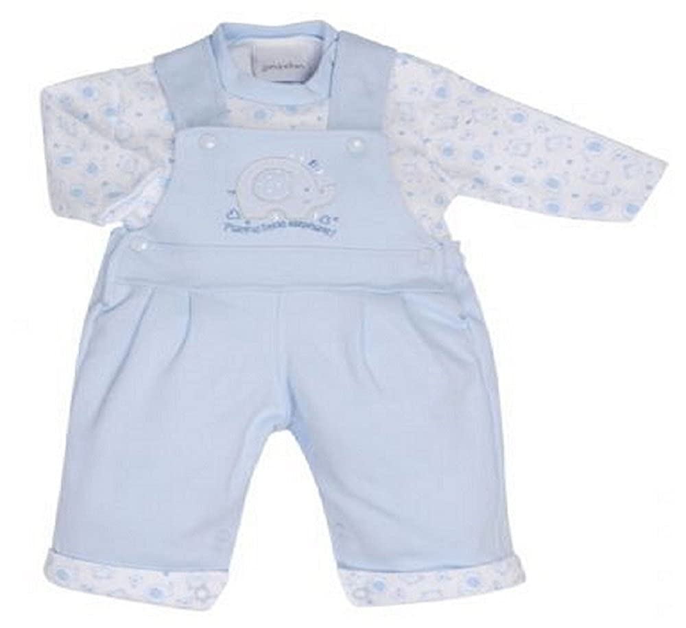 NEW IN SPANISH BABY 2 PIECE LITTLE ELEPHANT BOY DUNGAREE WITH TOP