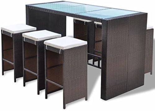 mewmewcat 13 Piezas Conjunto de Bar con Cojines para Jardín Terraza o Balcón Estructura de Acero Poli Ratan Marrón: Amazon.es: Deportes y aire libre